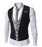 Blazer Men 2017 Men'S Fashion Suit Vest Brand Male More Splicing Single-Breasted Mens Vest M66