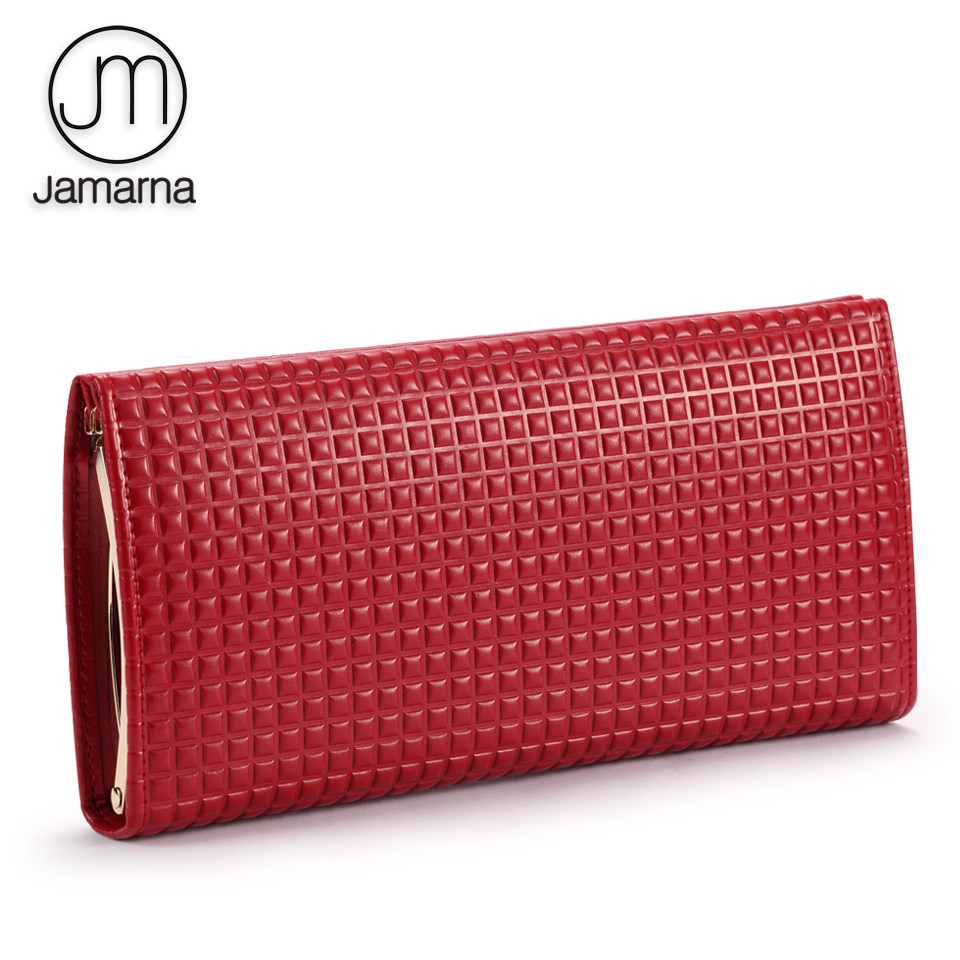 Jamarna Women Wallets Hasp Wallet Female Classic Genuine Leather Wallet Female Card Holder Case Plaid Red Purse casual weaving design card holder handbag hasp wallet for women