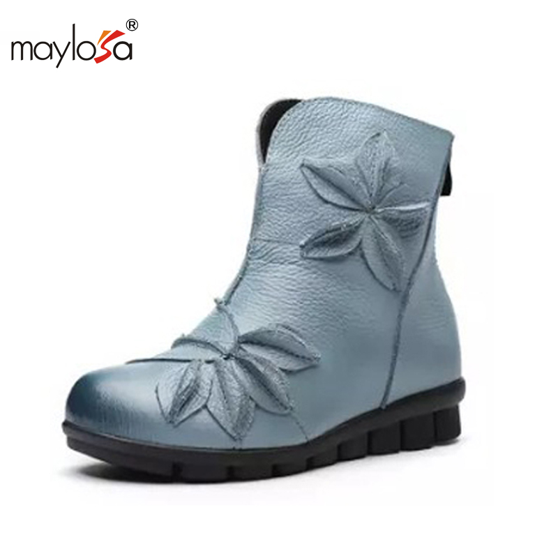 MAYLOSA New Winter Shoes Women Cow Leather Flower Shoes Med Heel Breathable Ankle Boots Genuine Leather Women Boots kelme 2016 new children sport running shoes football boots synthetic leather broken nail kids skid wearable shoes breathable 49