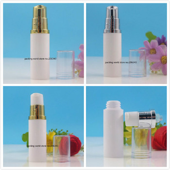 5ML white plastic airless bottle with silvergold pump transparent lid for lotion emulsion/serum/eye essence/toner skin care