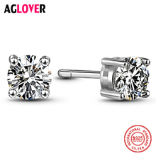 925 Sterling Silver Stud Earrings Classic Four Claw AAA Crystal 6mm Zircon Charm Woman 100% Jewelry