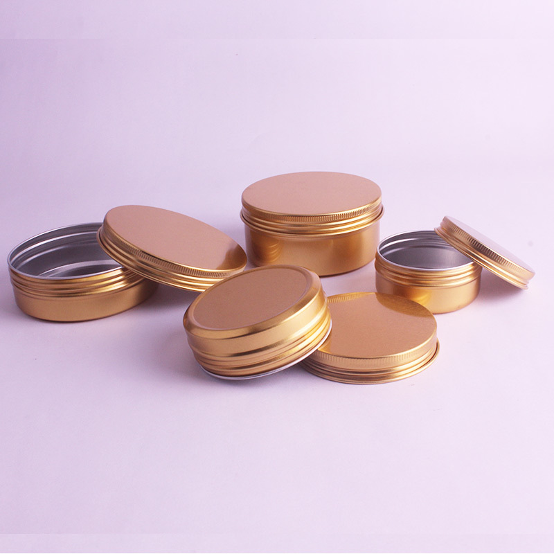 Image 5 - 20pcs/lot 50ml,60ml,100ml,150ml Gold Aluminum Cream Jars Tins Metal Cosmetic Jar Cosmetic Packaging Containers Lipstick Pot-in Refillable Bottles from Beauty & Health