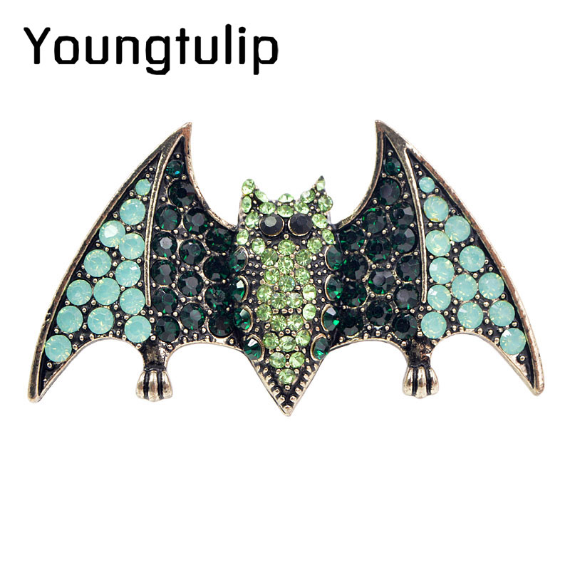 Young Tulip Bat Brooches For Women Jewelry Pins For Man 2018 Halloween Glitter Rhinestone Party High Quality Materials Fashion figurine