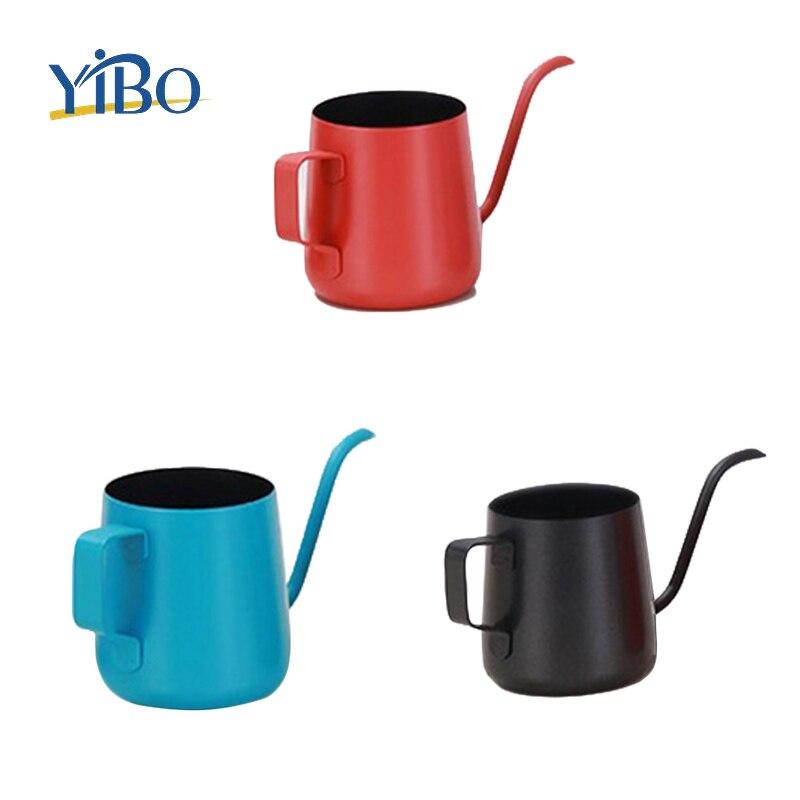 250/350ml Stainless Steek Swan Neck Drip Coffee Tea Pot Hand Punch Manual Coffee Brewing Kettle Telfon Coating Modern Coffeeware