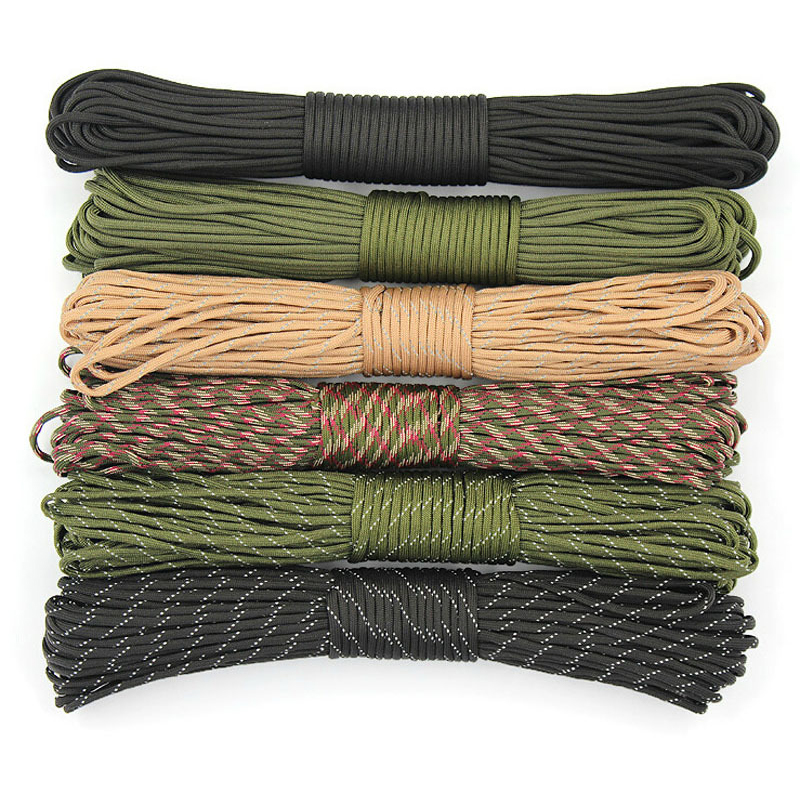 Army Green Black Paracord 550 Climbing Lanyard Tent Rope 4mm 7 Stand Knife Lanyard Paracord Survival Bracelet For Hiking Camping