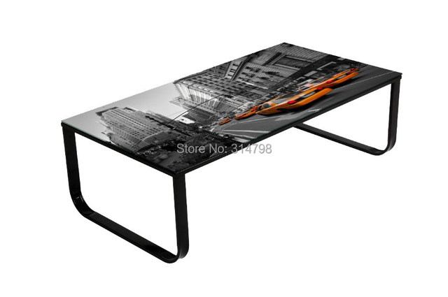 Coffee Table With Pattern, UK Coffee Table With Picture On The Top, Glass  Tea