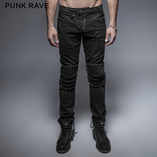 Punk Delirio Punky Primavera Negro Armadura Única Rodilla Hombre Vaqueros Lavado K-239