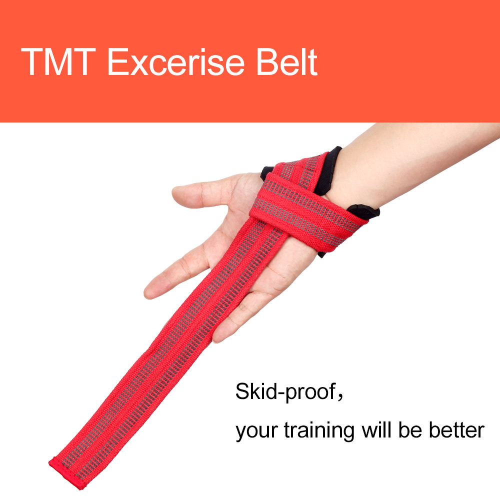 TMT Adjustable Silicone Anti-skid Fitness Dumbbell Training cotton Weight Lifting Straps Wrist Support Strap Brace Power Lifting