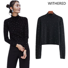 Withered winter clothes women sweaters high street BTS solid rivet panelled  regular pullovets christmas sweater women tops 1101 d69df97d5353