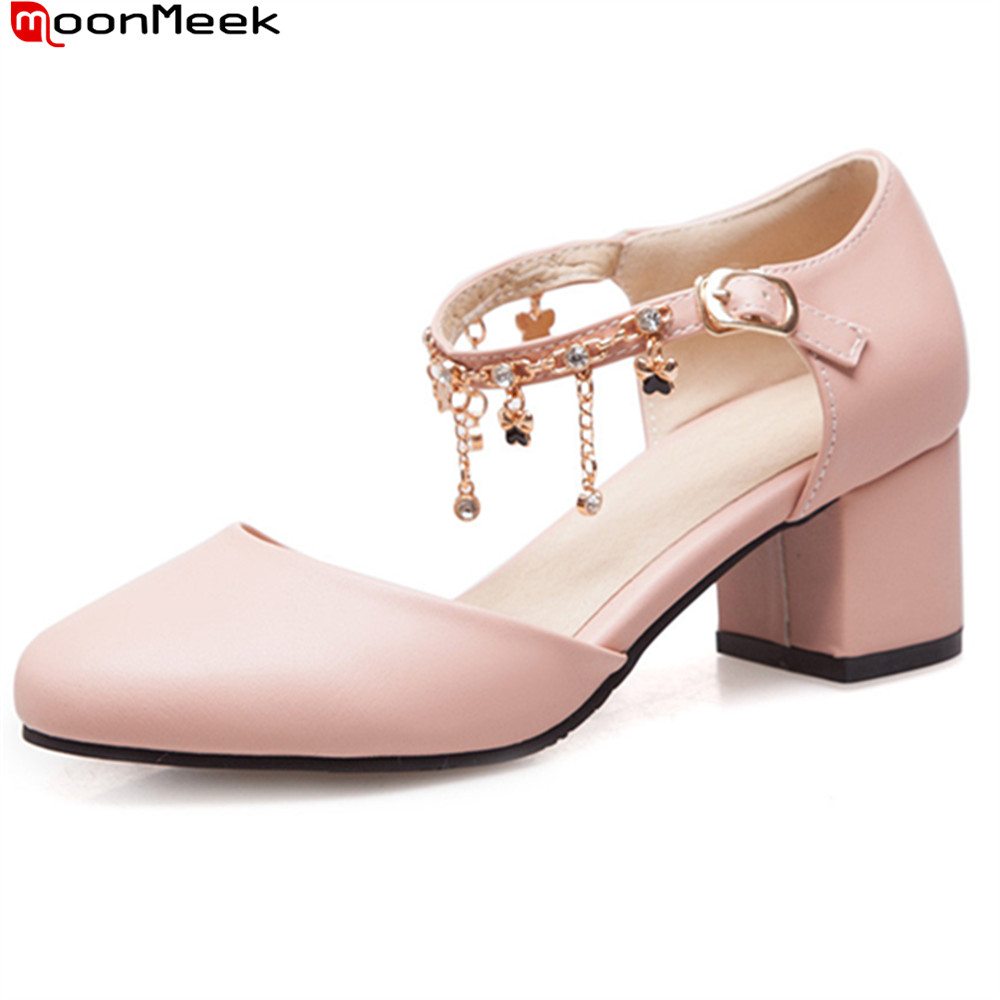 MoonMeek hot fashion 2018 spring autumn new arrival sweet ladies shoes with crystal high heels round toe simple women pupmsMoonMeek hot fashion 2018 spring autumn new arrival sweet ladies shoes with crystal high heels round toe simple women pupms