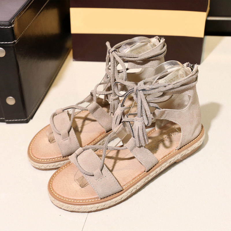Fashion cross tied summer shoes woman heels women sandals 2017 tongs sandales femmes shoes