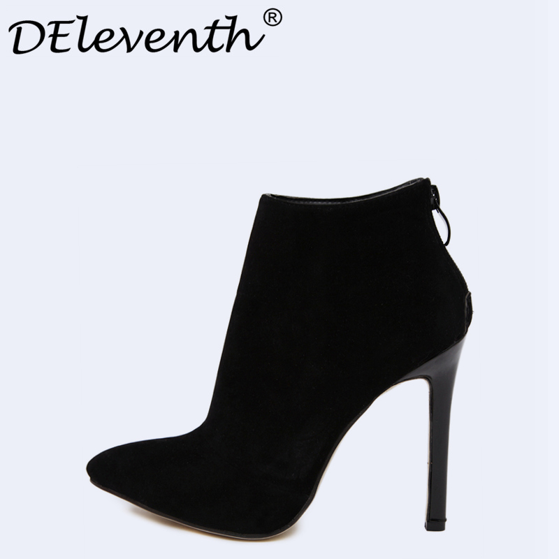 DEleventh Brand Design Contracted Solid Black Women Pointed Toe Stiletto High Heels Shoes Booties Woman Boots Ladies Shoes Red deleventh classics sexy women red wedding shoes peep toe stiletto high heels shoes woman sandals black red nude big size 43 us10