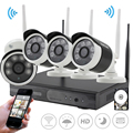 SUNCHAN 4CH Wireless 1.3MP Array LED Camera Kit 960P HDMI P2P NVR WIFI IP Camera Outdoor Waterproof Network NVR CCTV System 1TB