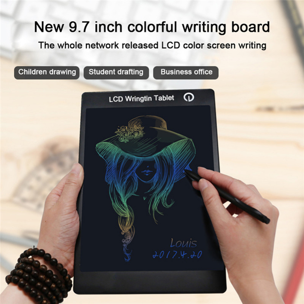 New 9.7 inch Paperless Colorful LCD Writing Board handwriting Children Drawing Board Tablet Pad Erase Kids writing Board 8 5 inch frog handwriting tablet board lcd writing tablet graphic drawing board for kids xxm8
