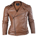 2017 Male Autumn Leather Biker Jacket Slim Fashion Motorcycle Jacket Male Large Lapel Biker Zipper Jacket Men Casual 4Colors