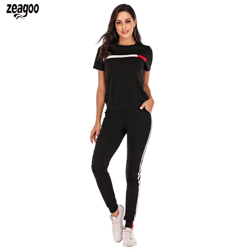 Women Fashion Summer Round Neck Short Sleeve Casual Patchwork Sporting Set Trousers Drawstring Elastic Waist