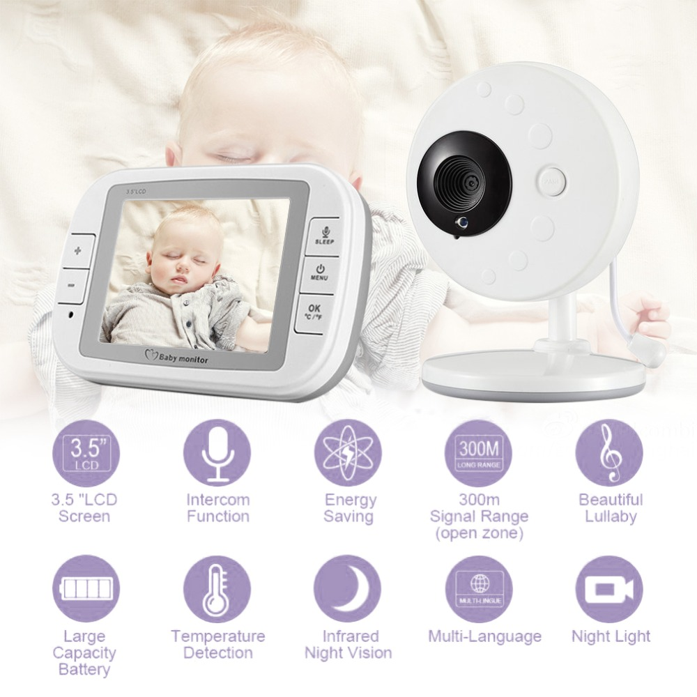 Wireless Baby Monitor 3.5 TFT LCD Night Vision 2-way Audio Baby Camera Video Babysitter Temperature Humidity detectionWireless Baby Monitor 3.5 TFT LCD Night Vision 2-way Audio Baby Camera Video Babysitter Temperature Humidity detection
