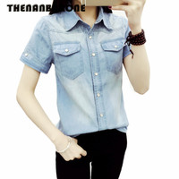 Thenanburone Fashion Denim Blouse Women Single Breasted Casual Shirt Sexy Slim Short Sleeve Turn Down Collar