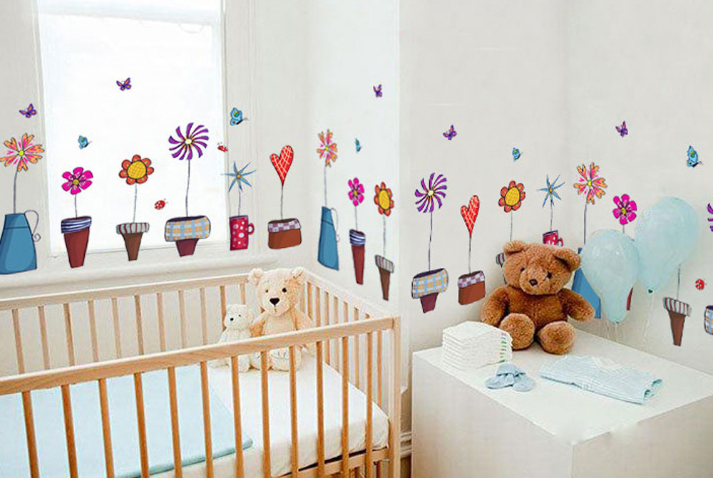 Cute Small Fresh Wall Decal Stickers Flowers Insect