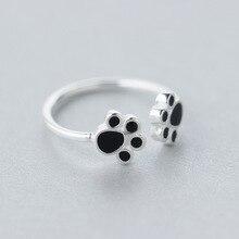 Настоящее. лапой двухместный щенок серебряные свободный собака регулируемый ретро кольцо изделия