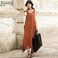 2016 Summer ZANZEA Women Casual Loose Sleeveless Long Dress Vintage Pockets Irregular Maxi Solid Dresses Plus Size Vestidos