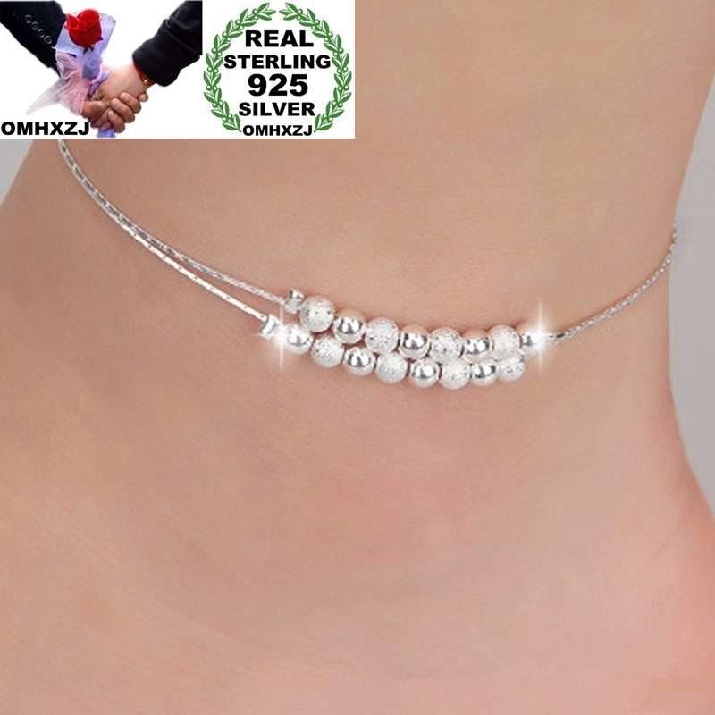OMHXZJ Wholesale European Fashion Woman Girl Party Birthday Wedding Gift Sweet Beads Two Lines 925 Sterling Silver Anklet JL07
