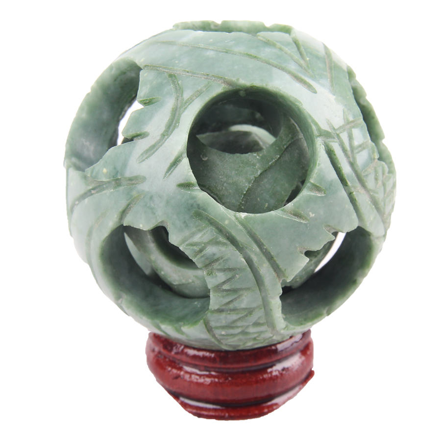 Natural Chinese white jade carved flower magic Puzzle Ball 55mm
