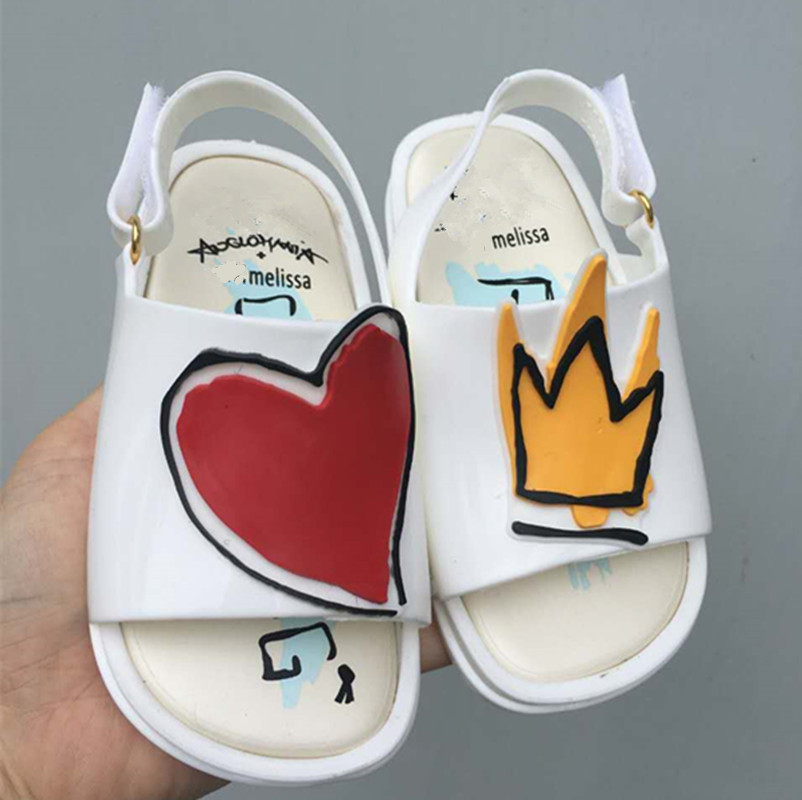Melissa 2018 New Jelly Shoes Red Heart Girl Boys Sandals Kids Rain Shoes Jelly Shoes Girl Non-slip Kids Sandal Toddler