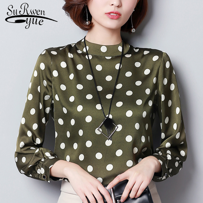 Autumn Wave Point Shirt Women Fashion Women Tops And Blouses 2019 Long Sleeves Plus Size 3XL Chiffon Blouse Shirt Blusa 1055 40