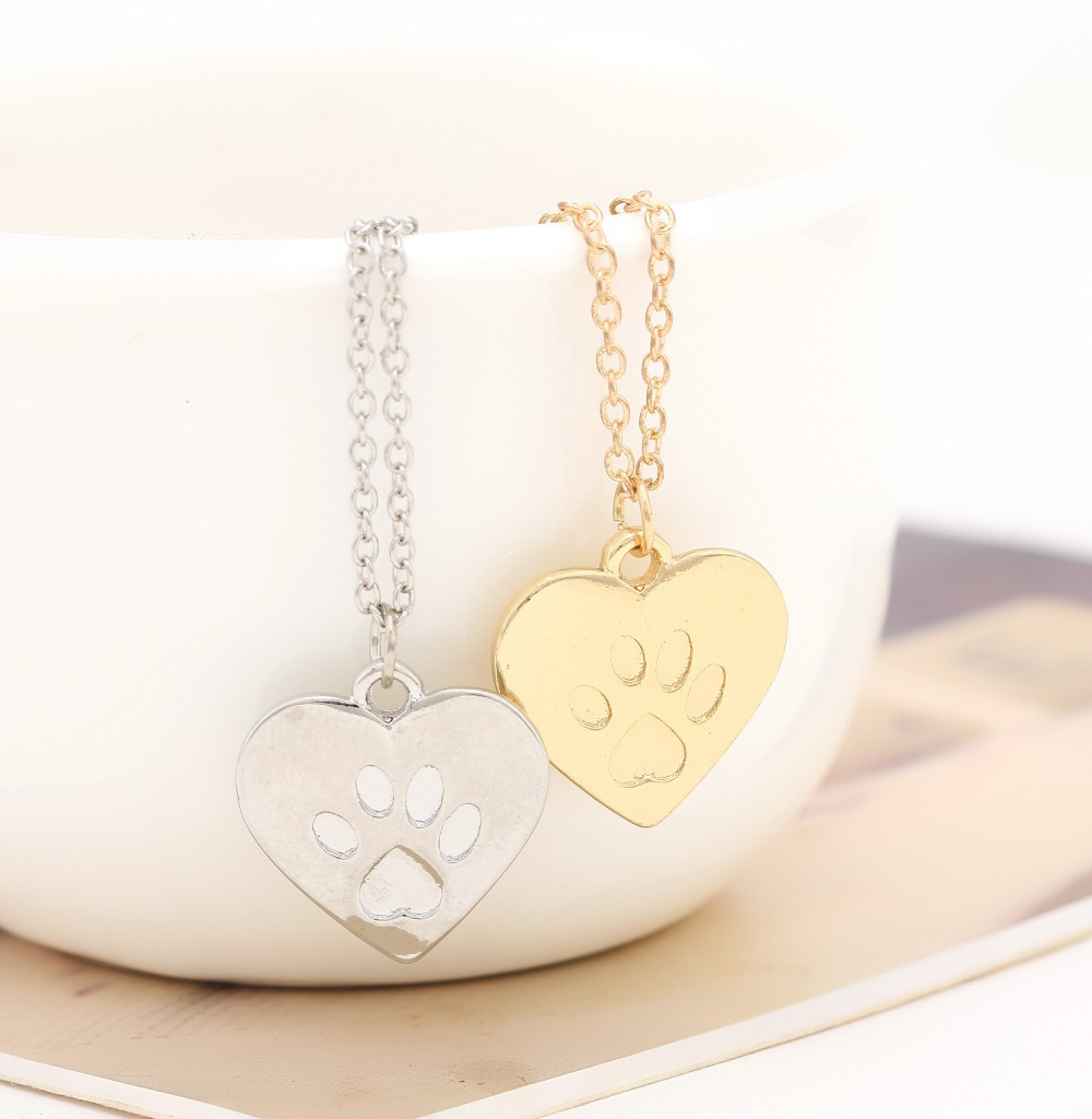 Hzew Heart Shape Dog Cat Claw Silver And Gold Colors Pendant Necklace Dog Cat Friend Necklaces Jewelry & Accessories
