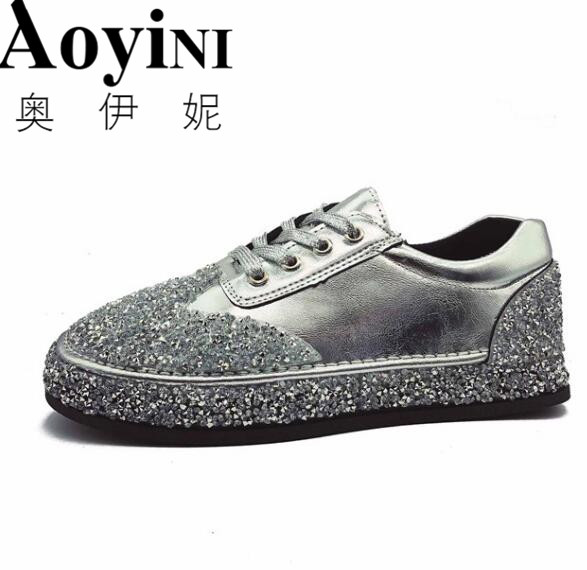 2018 Fashion Female Footwear Diamond Flats Casual Shoes Women Slip Sneakers  Silver Loafers Crystal Leather Girl Trainers af0ccce11d5f