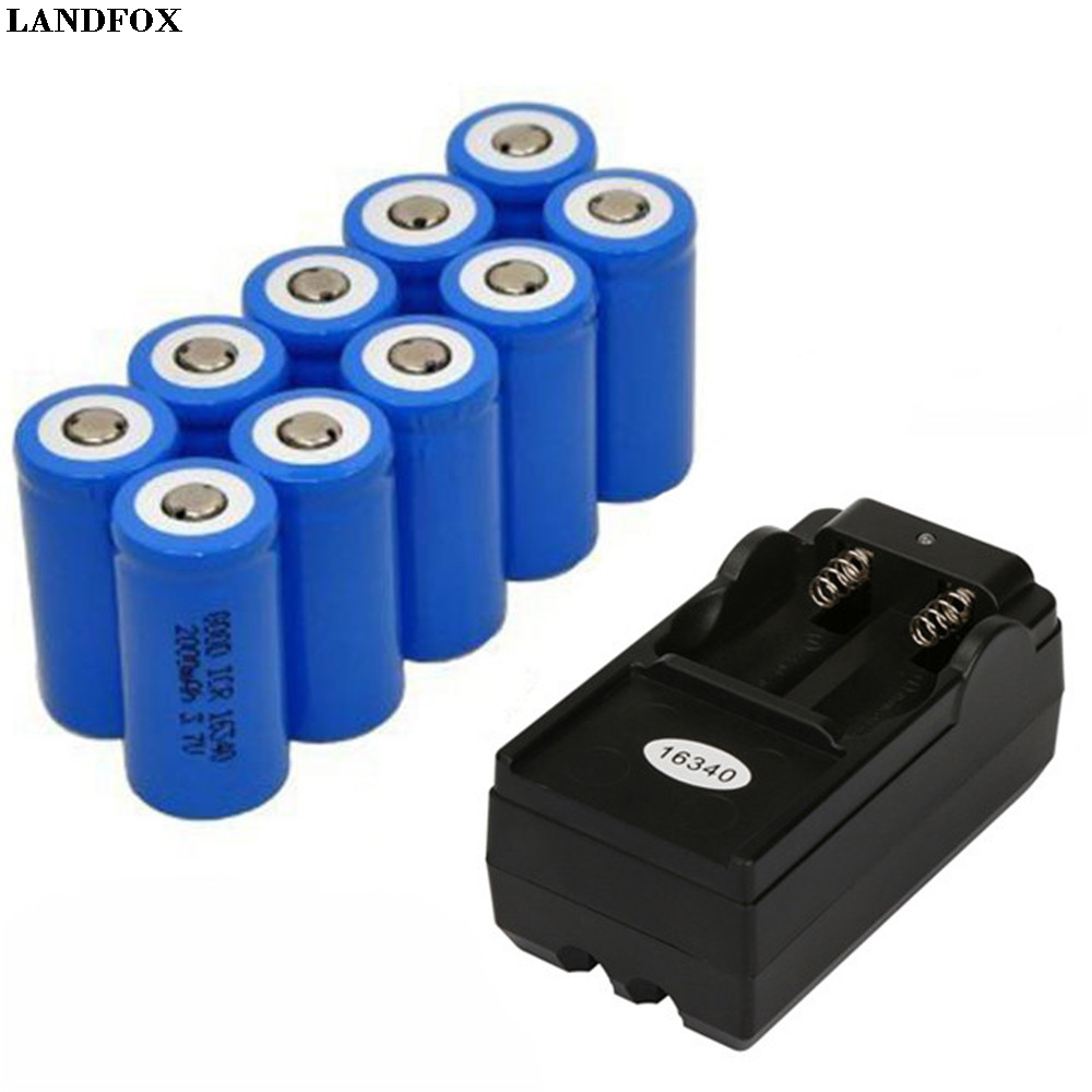 LANDFOX 10x 2000mAh 16340 Rechargeable Li-ion Battery For LED Flashlight+CR123A Charger for Flashlight Camera etc Drop Shipping