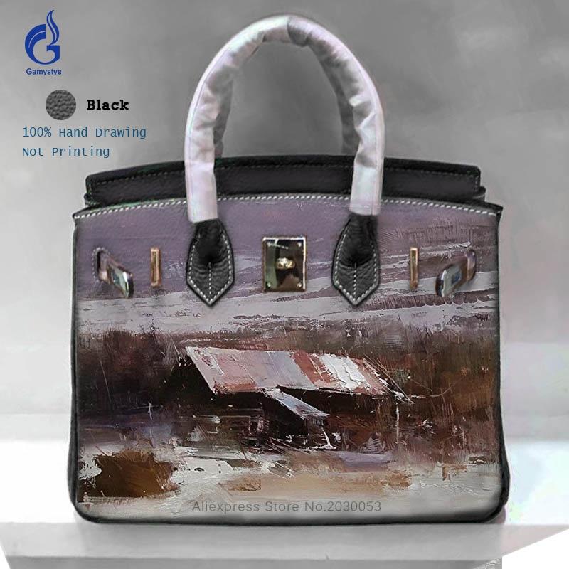 все цены на 2018 Fashion Ladies Handbags Vintage Genuine Leather Bag Hand Painted Graffiti Landscape Bags For Shoulder Crossbody Bag Totes Y онлайн