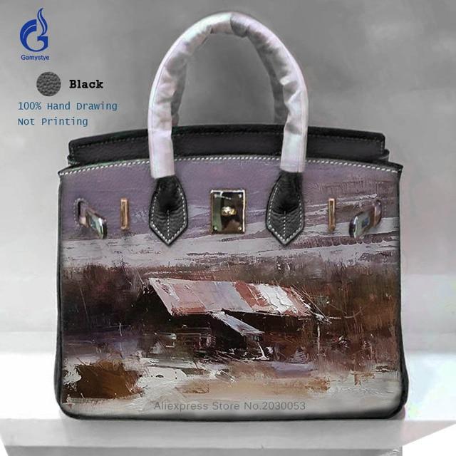 cf49206fc59c 2018 Fashion Ladies Handbags Vintage Genuine Leather Bag Hand Painted  Graffiti Landscape Bags For Shoulder Crossbody