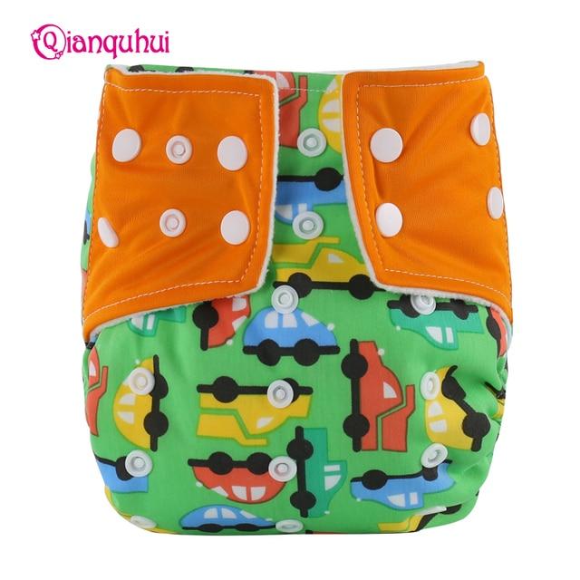 Qianquhui 0 2 Years Baby Boys Girls Reusable Diapers Adjustable Fashion Cartoon Animal Printed Anti Side Leakage Nappies