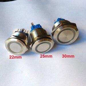22 мм 25 мм 30 мм 6 в 12 В 24 в 230 в кольцевой светодиодный светильник самоблокирующийся фиксация и мгновенный DPST Металл промышленная лодка автомоб...