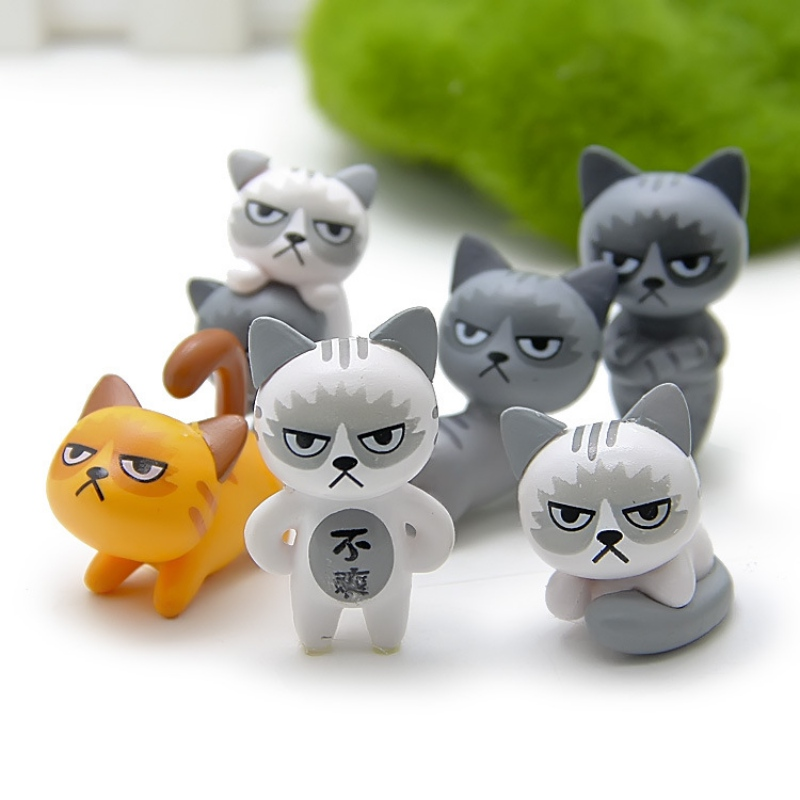 2018 6pcs/set Cute Kawaii Unhappy Cats Action Figure Toy For Children Baby Room Decoration Lovely Kids Gifts 3-4cm L1