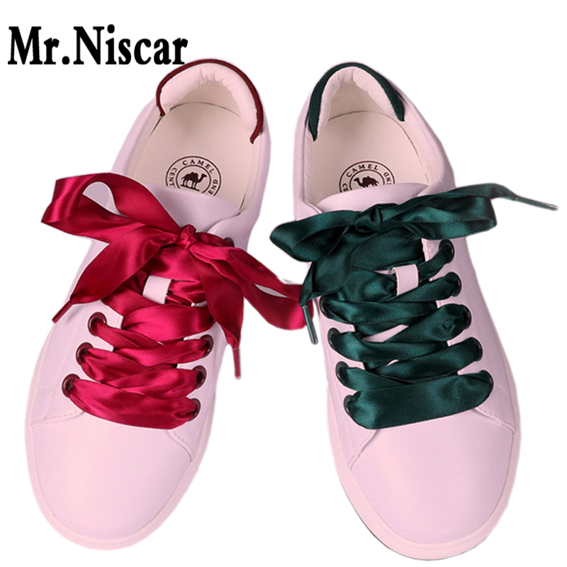 1 Pair Silk Shoelaces Ribbon Candy Colors Double-sided Polyester Silk Shoe Laces Strings Wide Flat Ribbon Laces Rope Shoestring jacquard green label silk colors cyan [pack of 3 ]