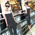 A female leisure suit loose chiffon shirt striped short sleeved shirt suits summer fashion