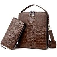 2 Set Handbag Men Messenger Bags PU Leather Man Bags Fashion Male Men S Briefcase