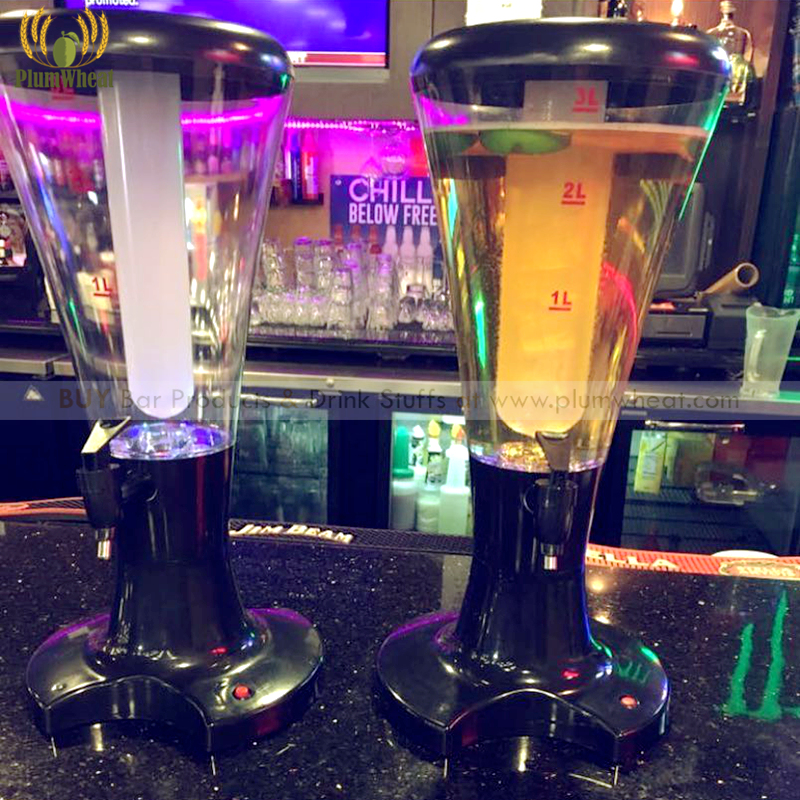 Black 3 Liters LED Beer Tower Dispenser with Ice Tube BT48