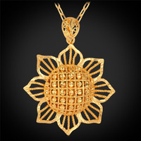 Gold Pendant Necklaces For Women Blommy Sun Flower 18K Real Gold Plated 2015 New Trendy Jewelry