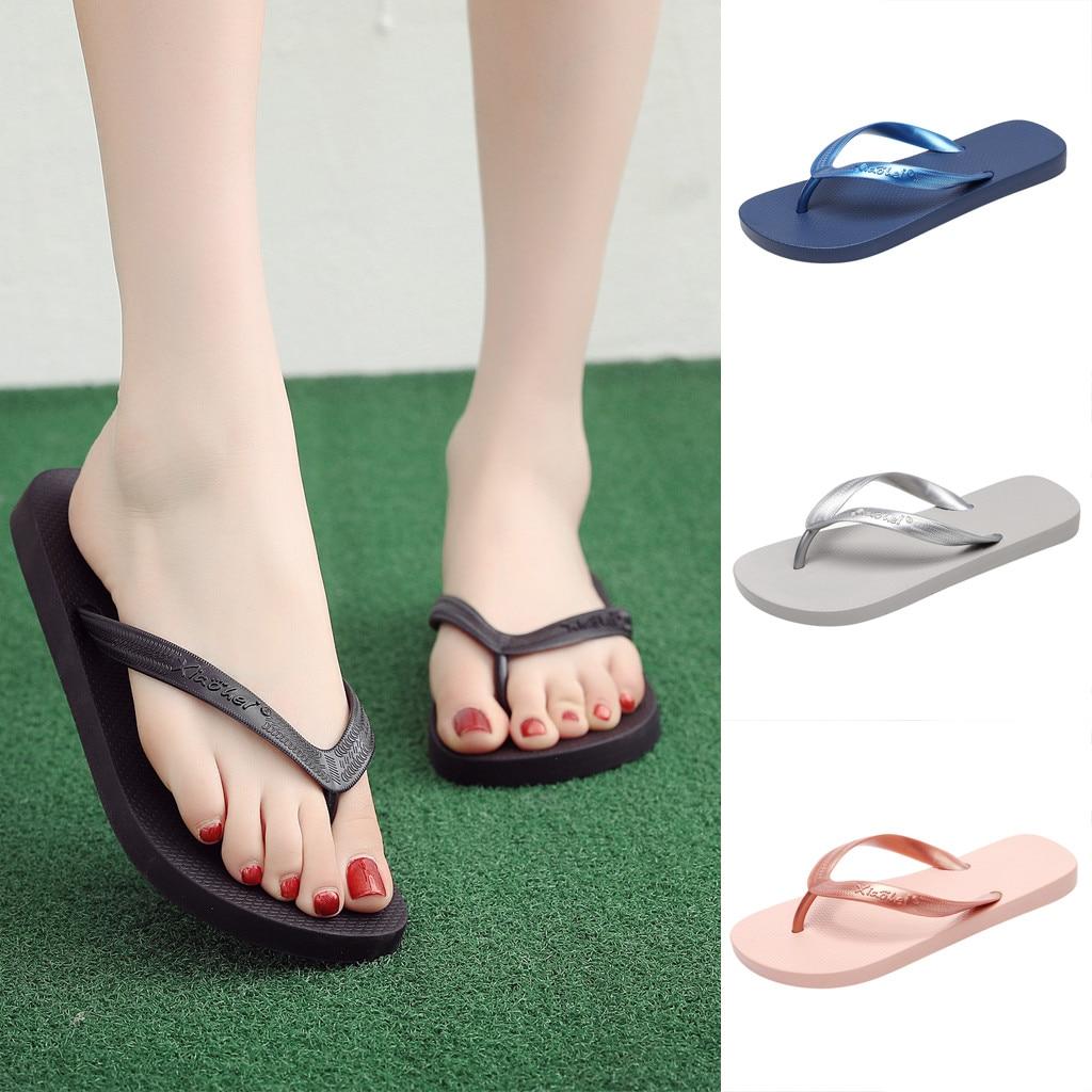 2019 Frauen Sommer Hausschuhe Neue Paar Hausschuhe Nicht-slip Flip-flops Clip Zehe Flache Botton Strand Hausschuhe Zapatos De Mujer # By30