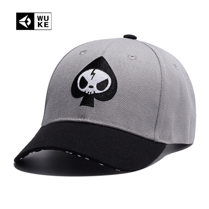 Wuke  Bone Branded Gray Color 6 Panel Baseball Caps For Men Women Fashion Cheap  Hats Man Woman Spades Caps Luxury 2016 2017 Hot d785441d10b