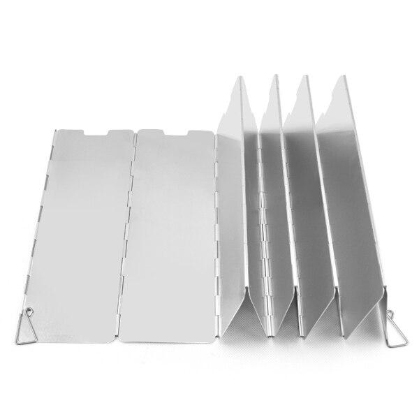 Acampamento 10 placas dobrar fogão a gás fogão de acampamento escudo vento tela dobrável ao ar livre titânio piquenique ferramentas viagem acampamento