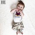 ÉL Hola Disfrutar de la ropa del bebé 2016 otoño Ocasional bebé ropa de la muchacha Fox Impreso T-shirt + pants impresión ciervos roupa infantil