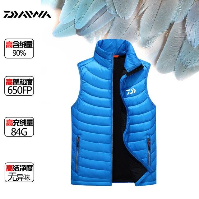 2016 Daiwa Dawa Men Winter Down Vest Anti-static Ultra-light Fashion Slim Outwear Man Down Vest Black Red Blue Size L-3XL