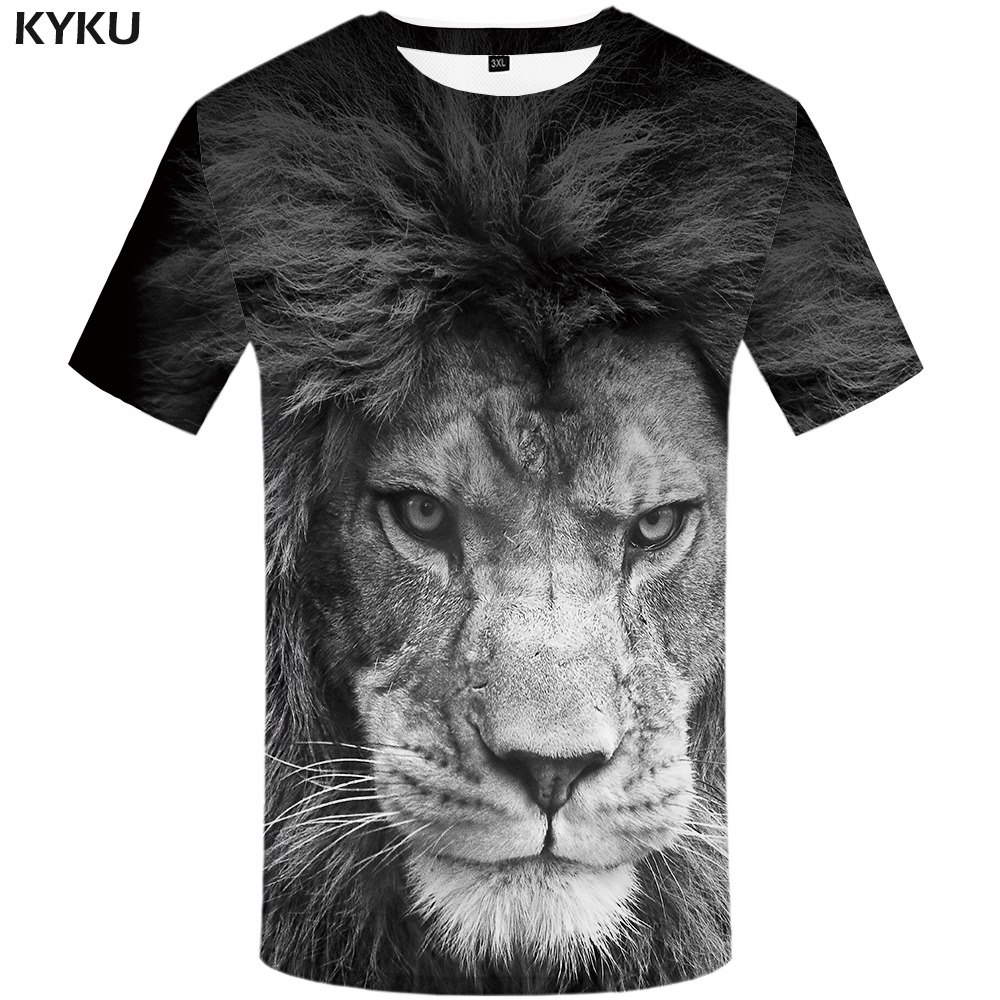 KYKU Brand Lion T Shirt Animal Plus Size Black And White Funny Tshirt 3d T-shirt Print Shirts Mens Clothing Men Casual
