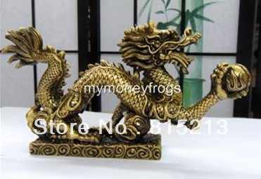 NEW LARGE Brass Chinese Oriental Feng Shui Water Dragon Year Statue