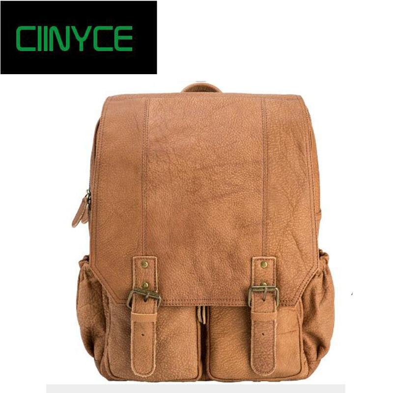 vintage genuine leather backpack mochilas escolares para adolescente meninas 14 inches laptop back pack school women man bag школьный рюкзак other minecraft pack mochilas femininas sacos escolares bookbags ca13n393